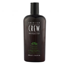 American Crew 3 in 1 Tea Tree Shampoo + Conditioner + Body Wash 450 ml